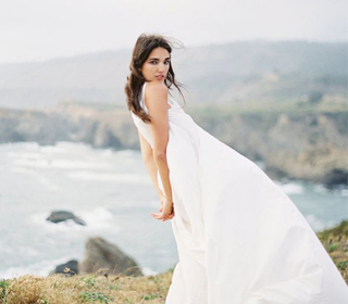 Modern windswept wedding dress