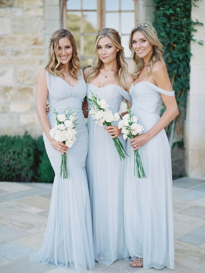Blue gowns with different necklines