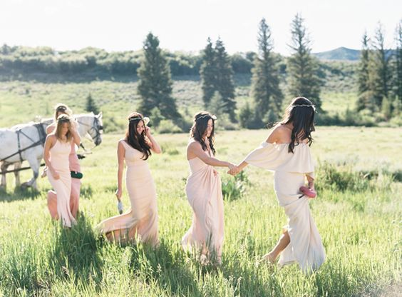Blush dresses in varying shades