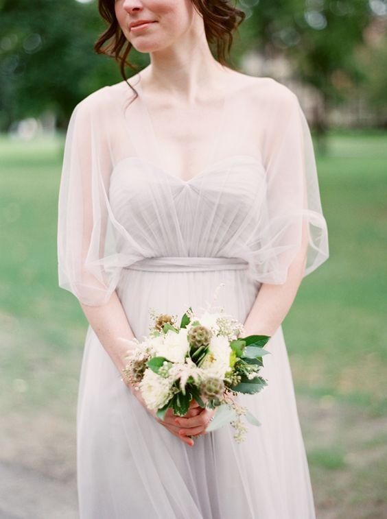 Soft grey bridesmaid dress