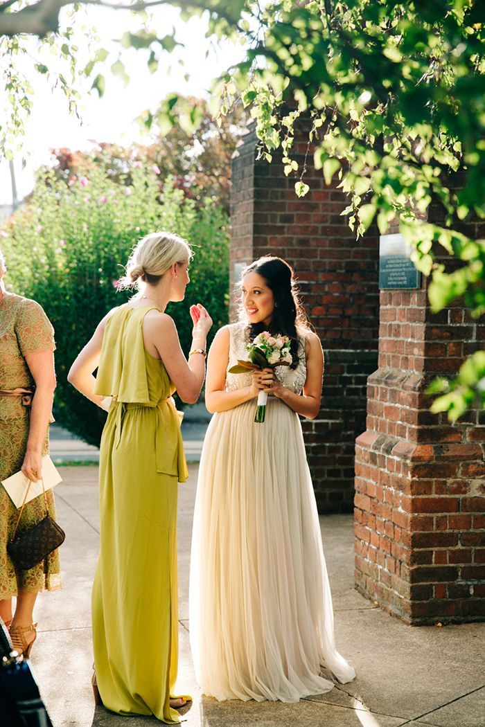 Light bridesmaids plus green