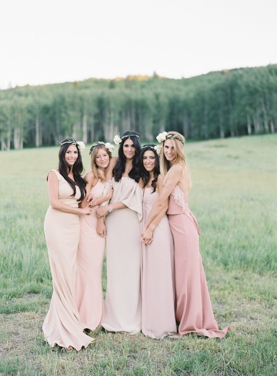 Pink dresses perfect for an outdoor wedding