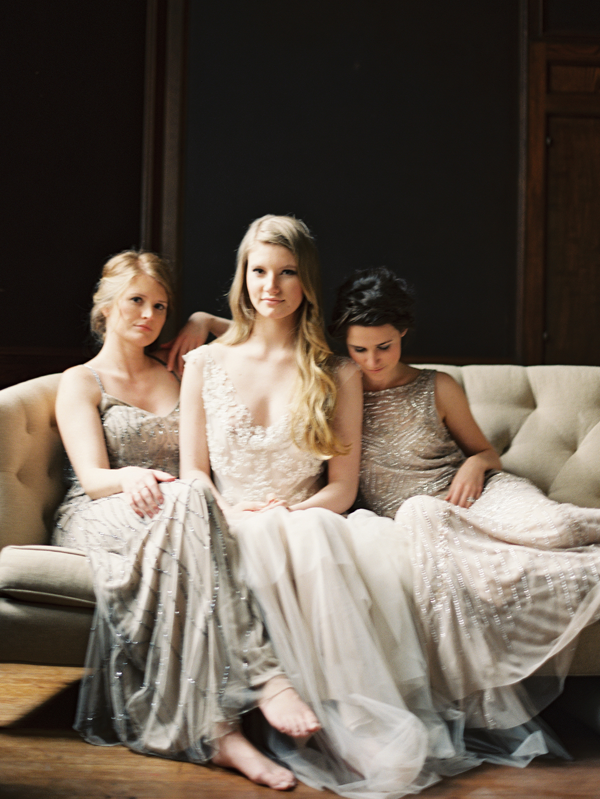Iridescent bridesmaid dresses