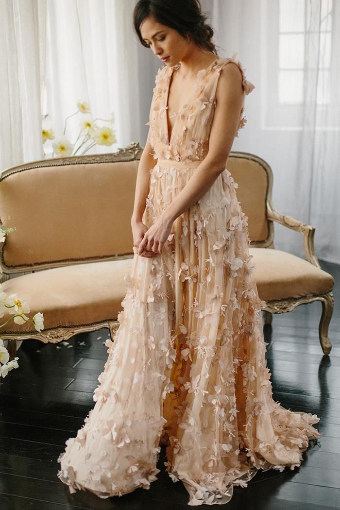 1-vintage-inspired-blush-wedding-gown