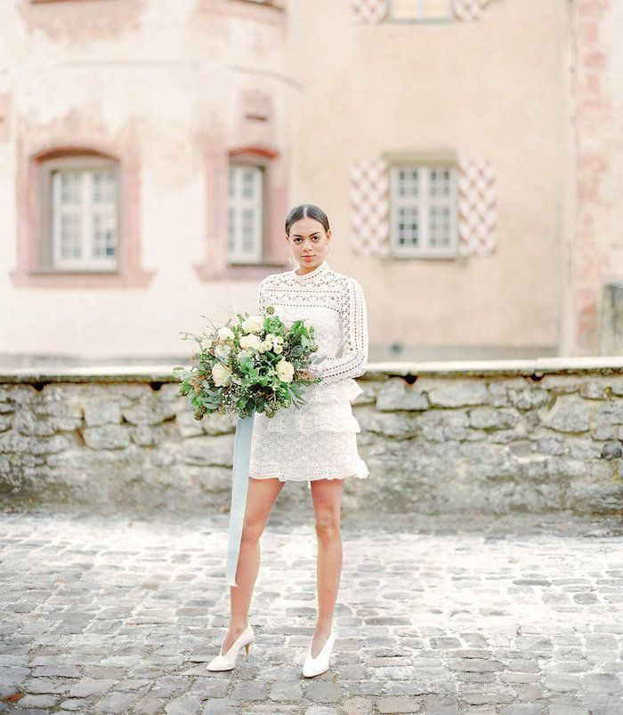 Modern Bridal Style with a Short Dress