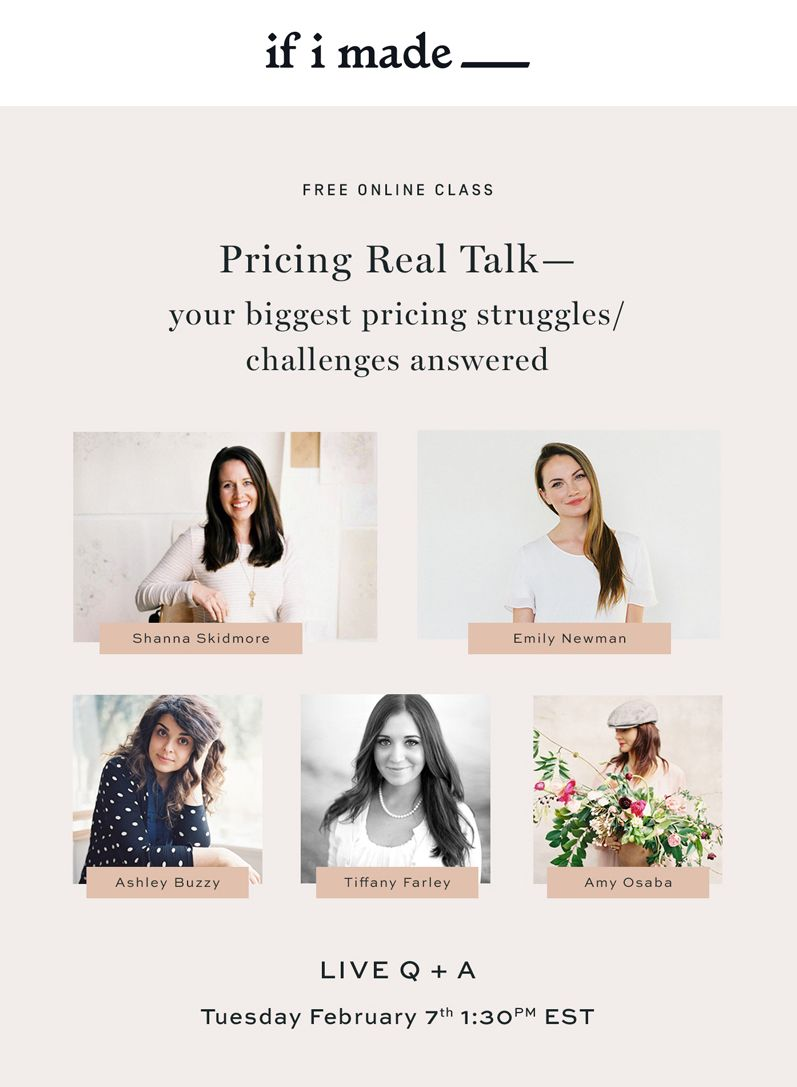 Free online pricing class with Shanna Skidmore and Emily Newman