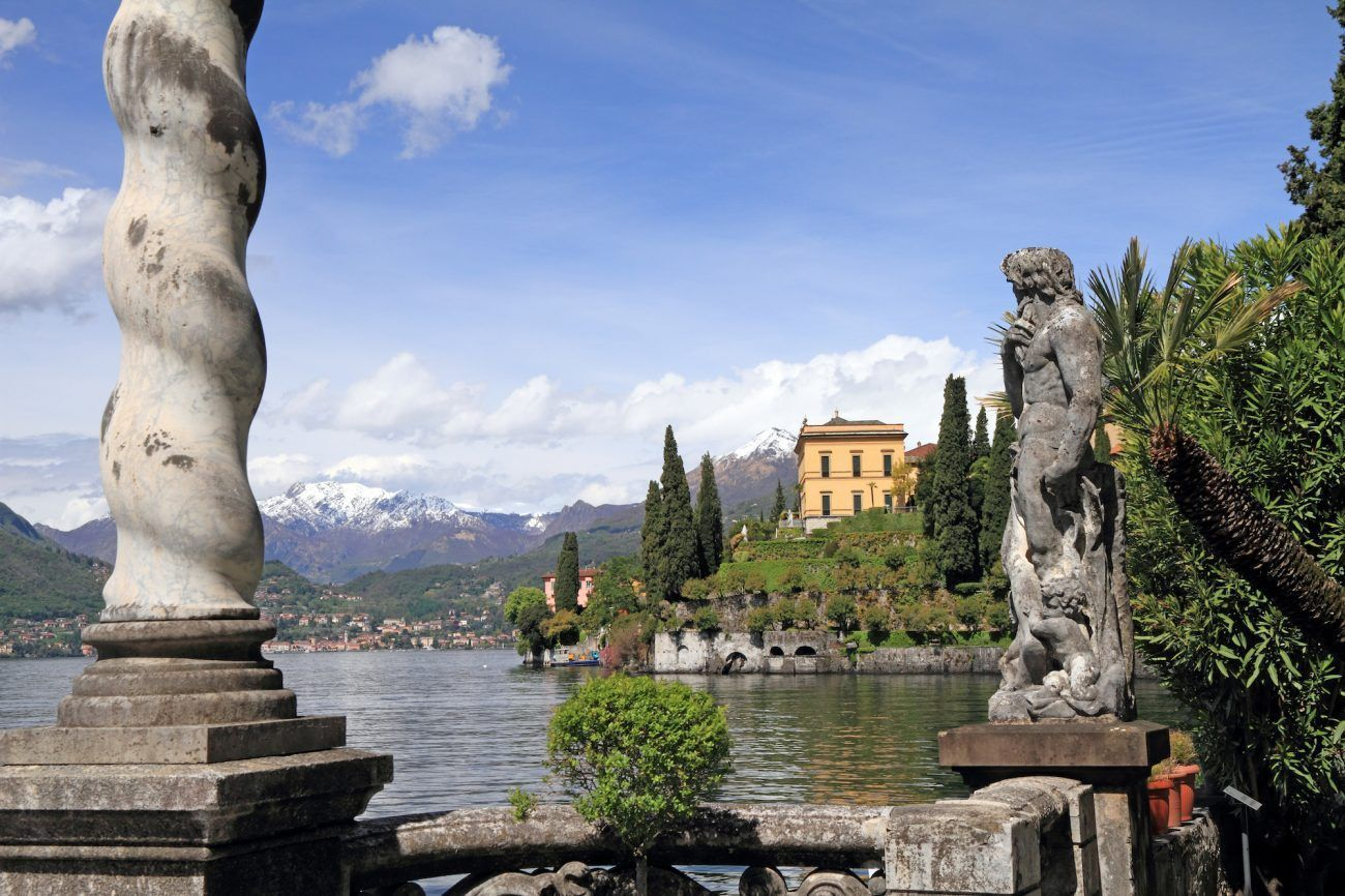 Fantastic landscape of lake Como seen from gardens of Villa Monastero, Varenna, Lombardy, Italy, Europe