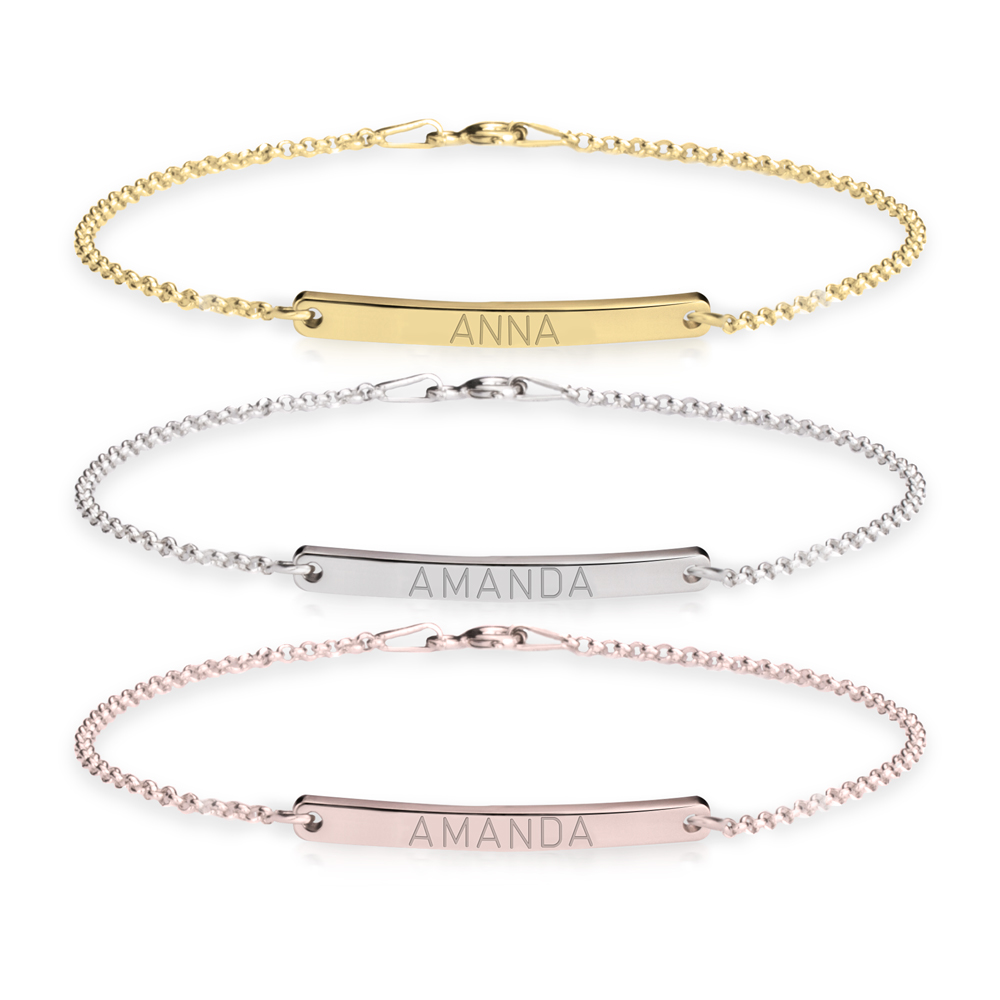 Curved Bar Name Bracelet