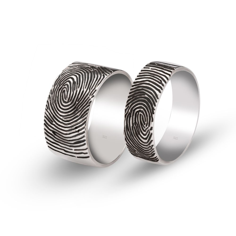 Fingerprint Couple Ring