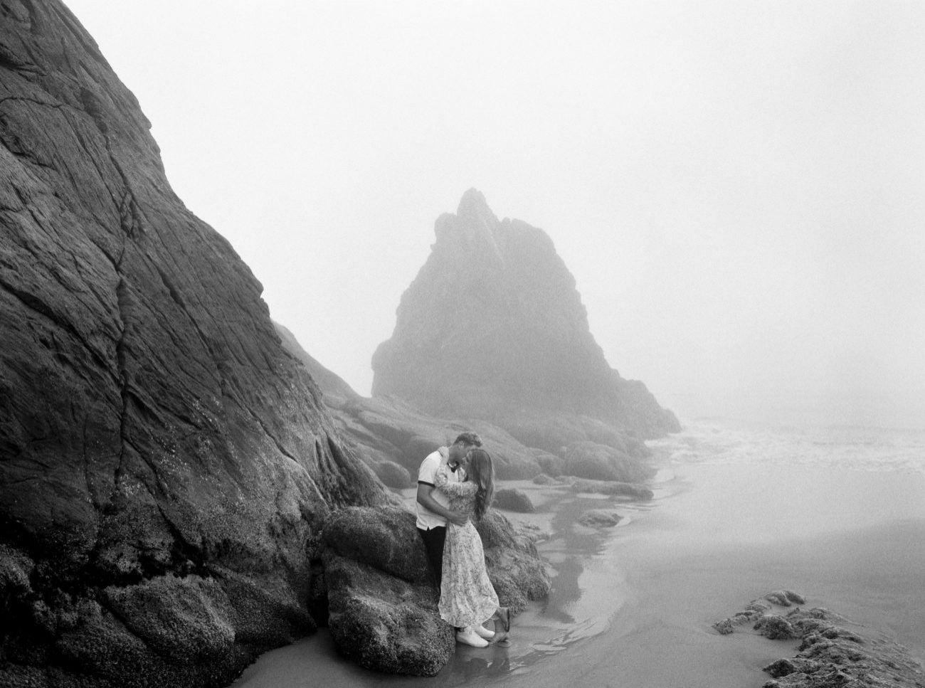 Moody Engagement Shoot on Oregon's Foggy Coastline
