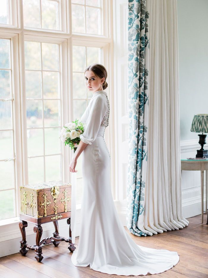 Glamorous Wedding Editorial in Cheshire Mansion Reminiscent of Jane Birkin and a French Romance