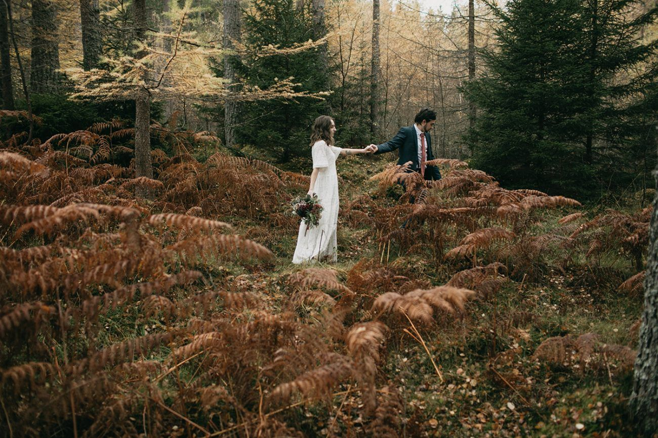 Rich Autumn Color and an Intimate Elopement in the Forests of Edinburgh, Scotland