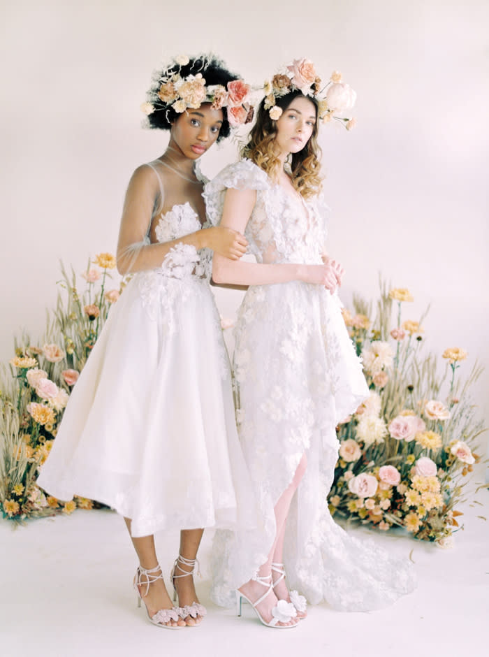 Neutral Bridal Editorial Made Warm and Whimsical With Pops of Pink, Lush Florals, and Feminine Details