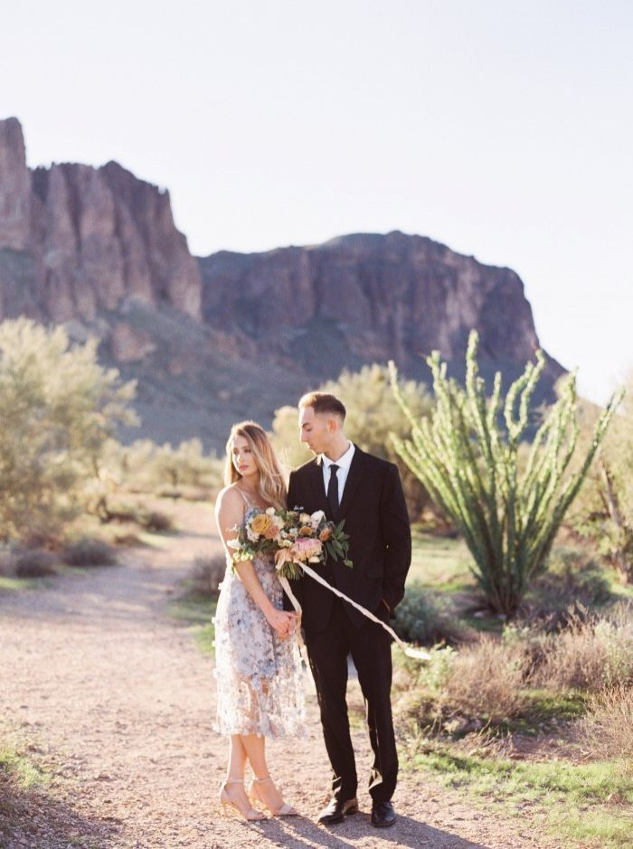 Wedding Photographer Opts For a Warm, Orange and Blue Engagement Shoot in the Arizona Desert