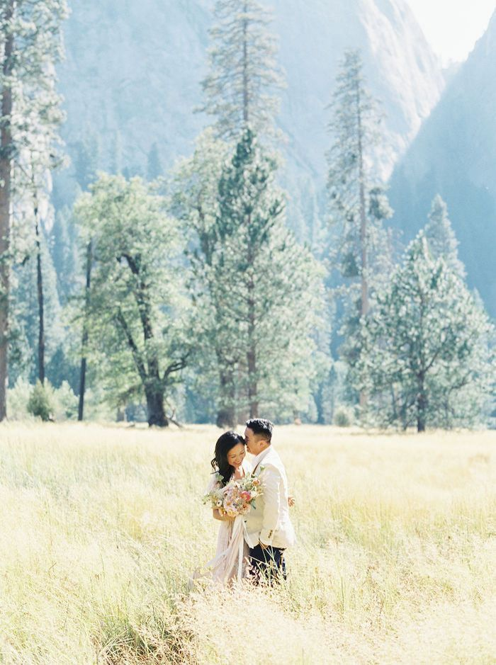 Feminine Pops of Pink Added a Touch of Classic Romance to this Outdoor Engagement Session in Yosemite National Park