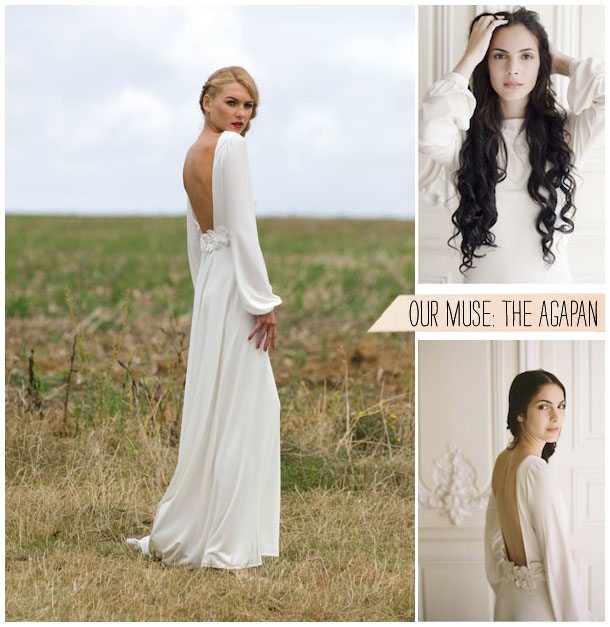 Boho-Inspired-Long Sleeve Wedding Dress by Delphine Manivet