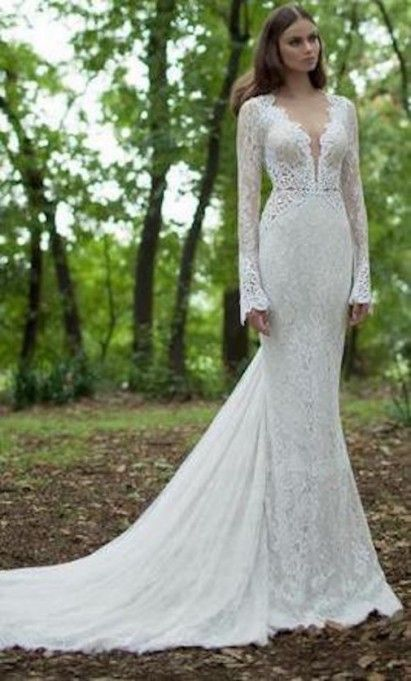 Berta Long Sleeve Lace Wedding Dress