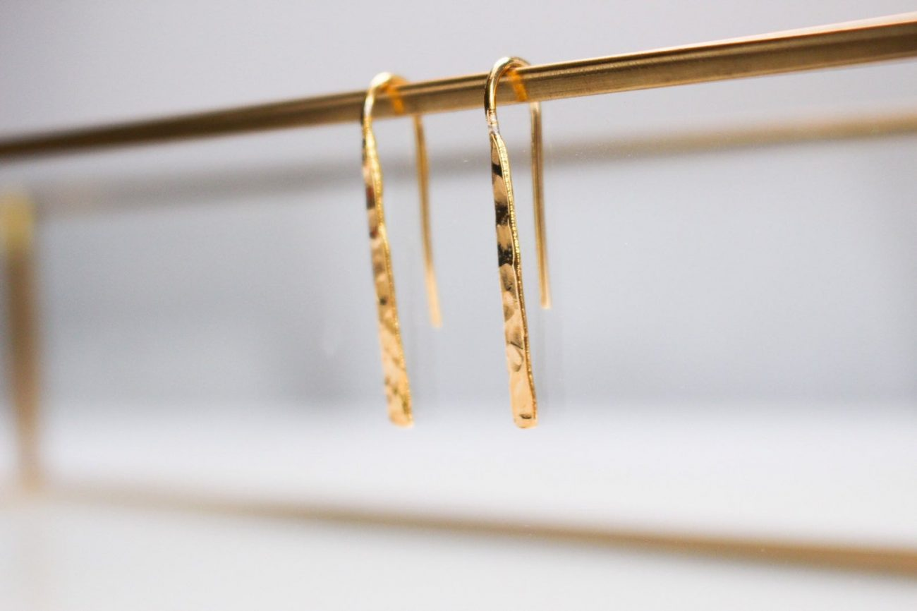 Dainty Gold Hammered Threader Earrings