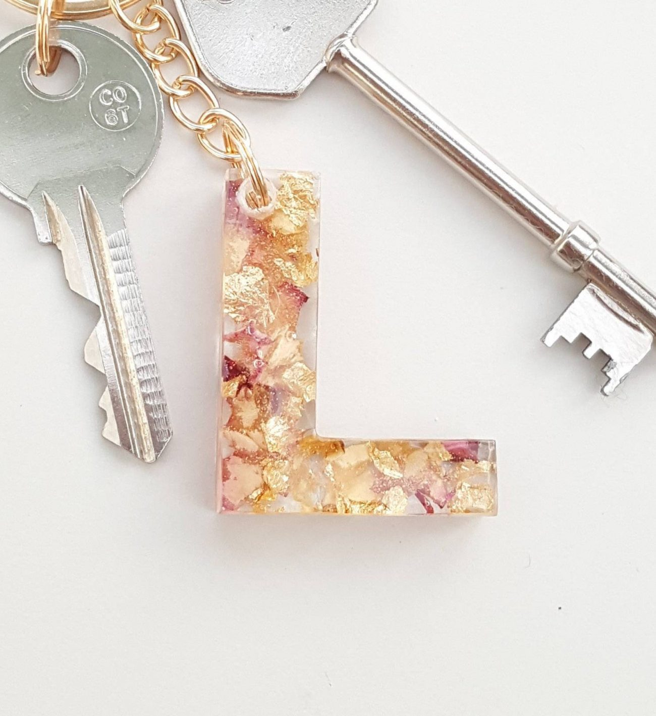 Pink, Cream, & Gold Leaf Initial Keyrings