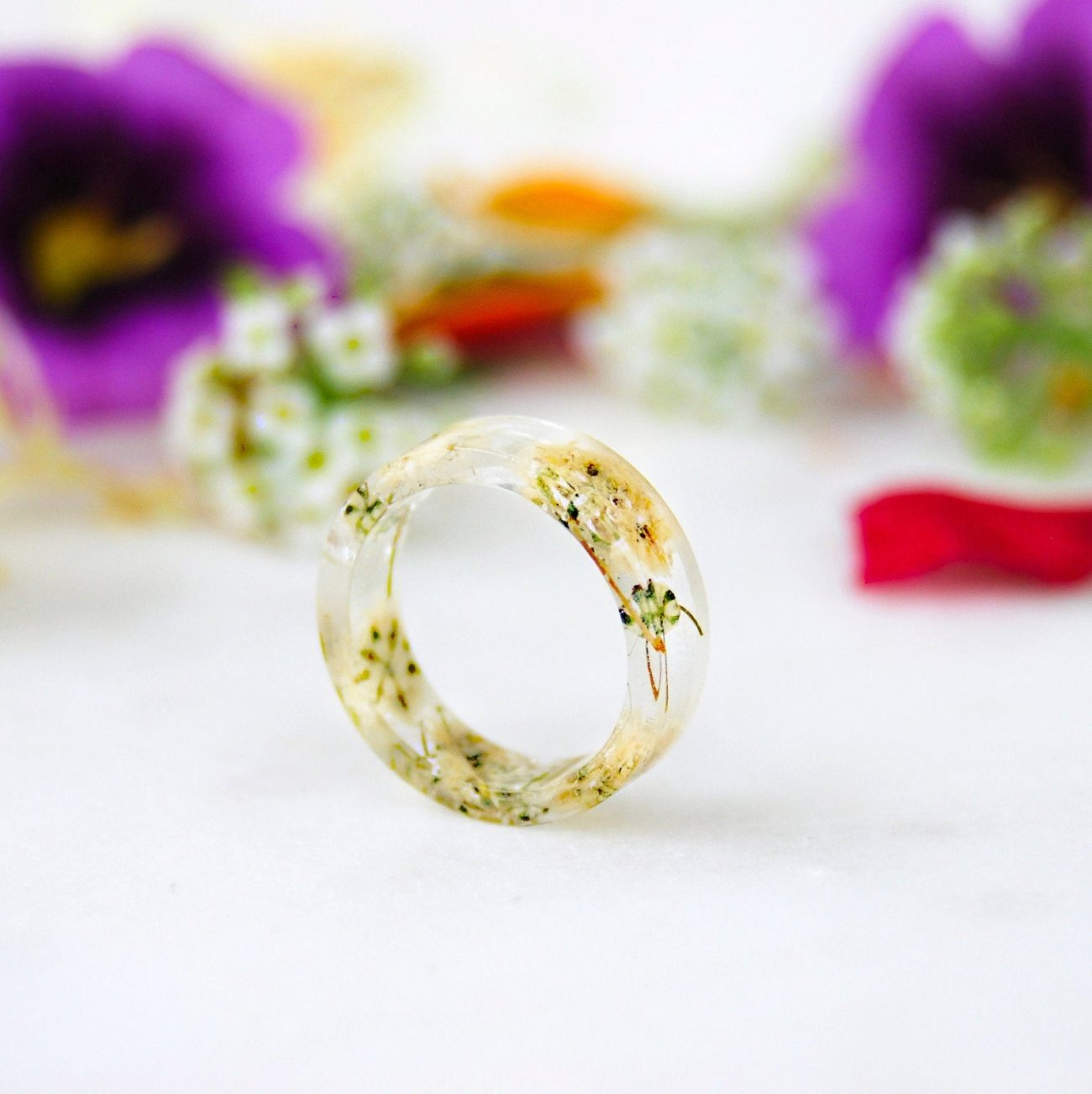 Real Flower Pressed Resin Rings
