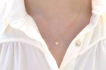 Tiny Sparkling Zirconia Gold Heart Necklace