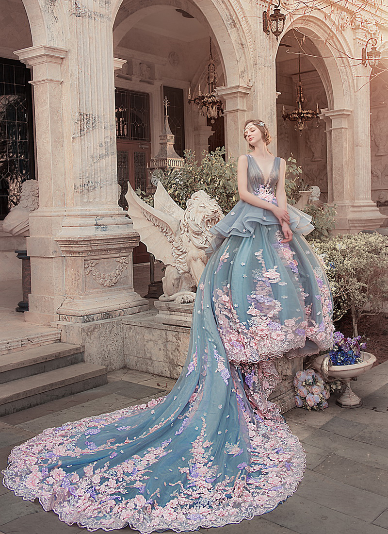 Blue floral Bella Catherine wedding gown  12 Dramatic Wedding ceremony Robes Value Swooning Over Blue floral Bella Catherine wedding gown