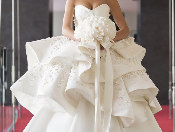 Head to toe view of Azzi & Osta pearl ball gown