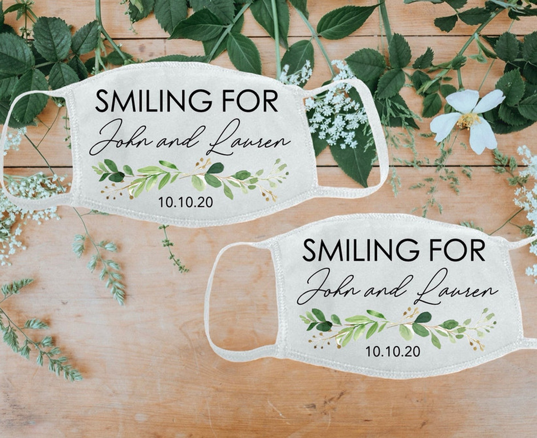 Custom wedding guest masks