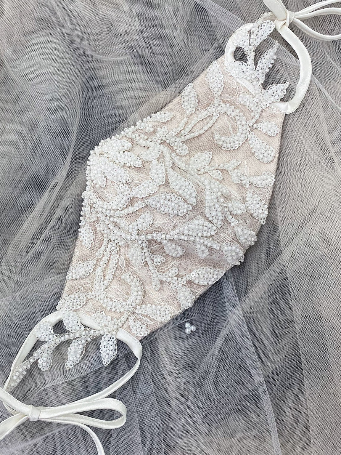 Embellished bridal face mask