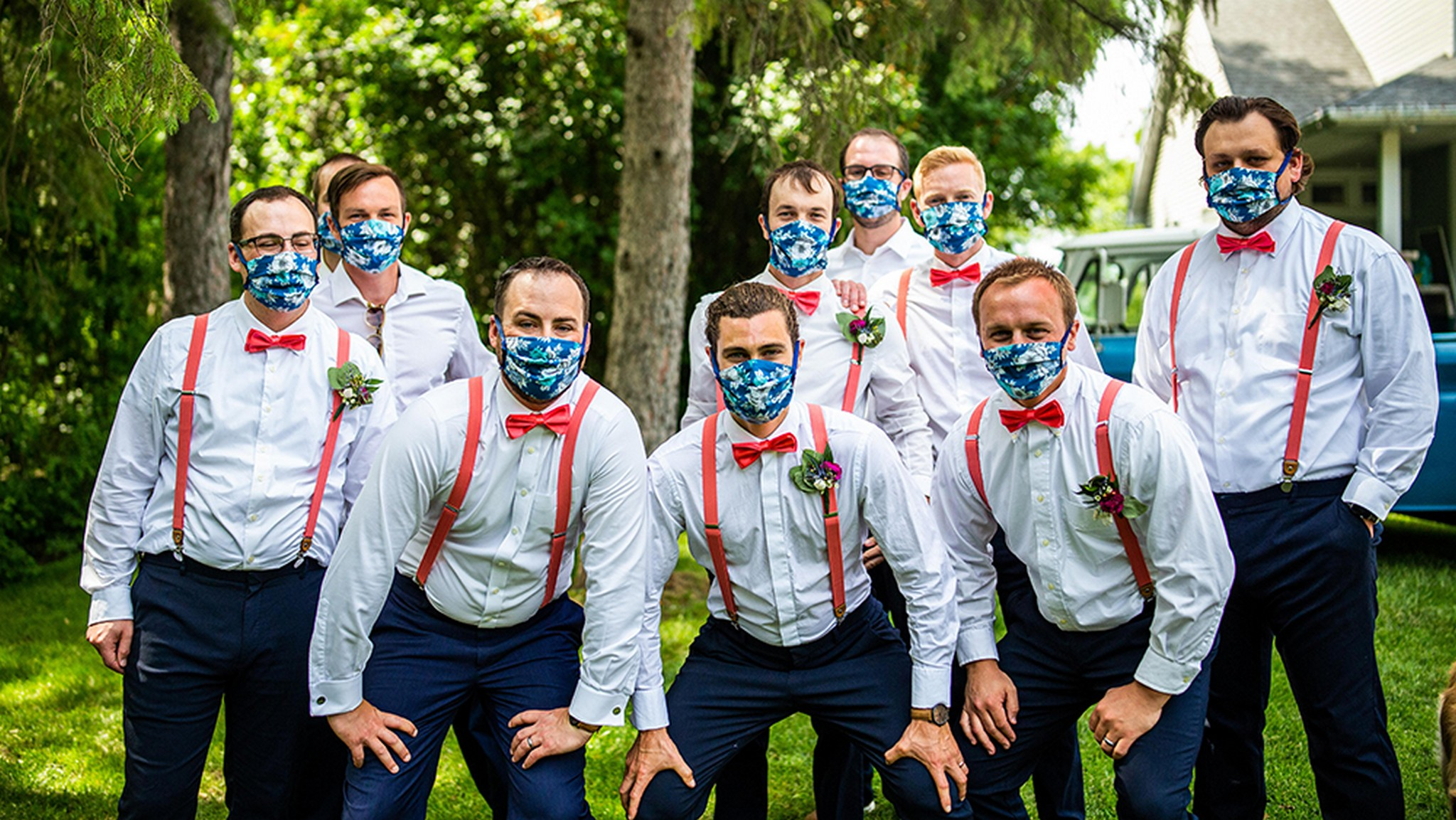 Groomsmen wearing matching masks