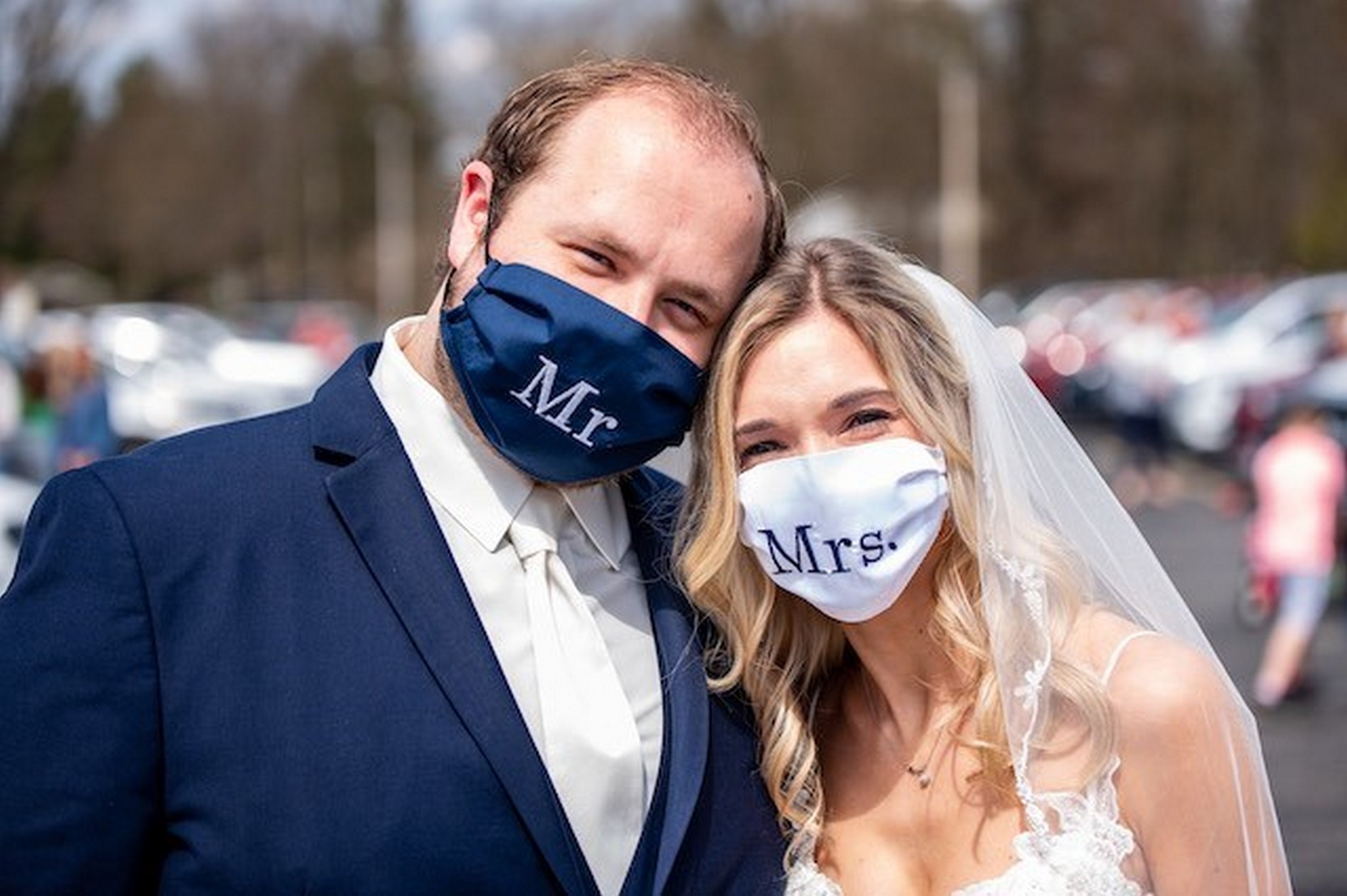Matching bride and groom masks
