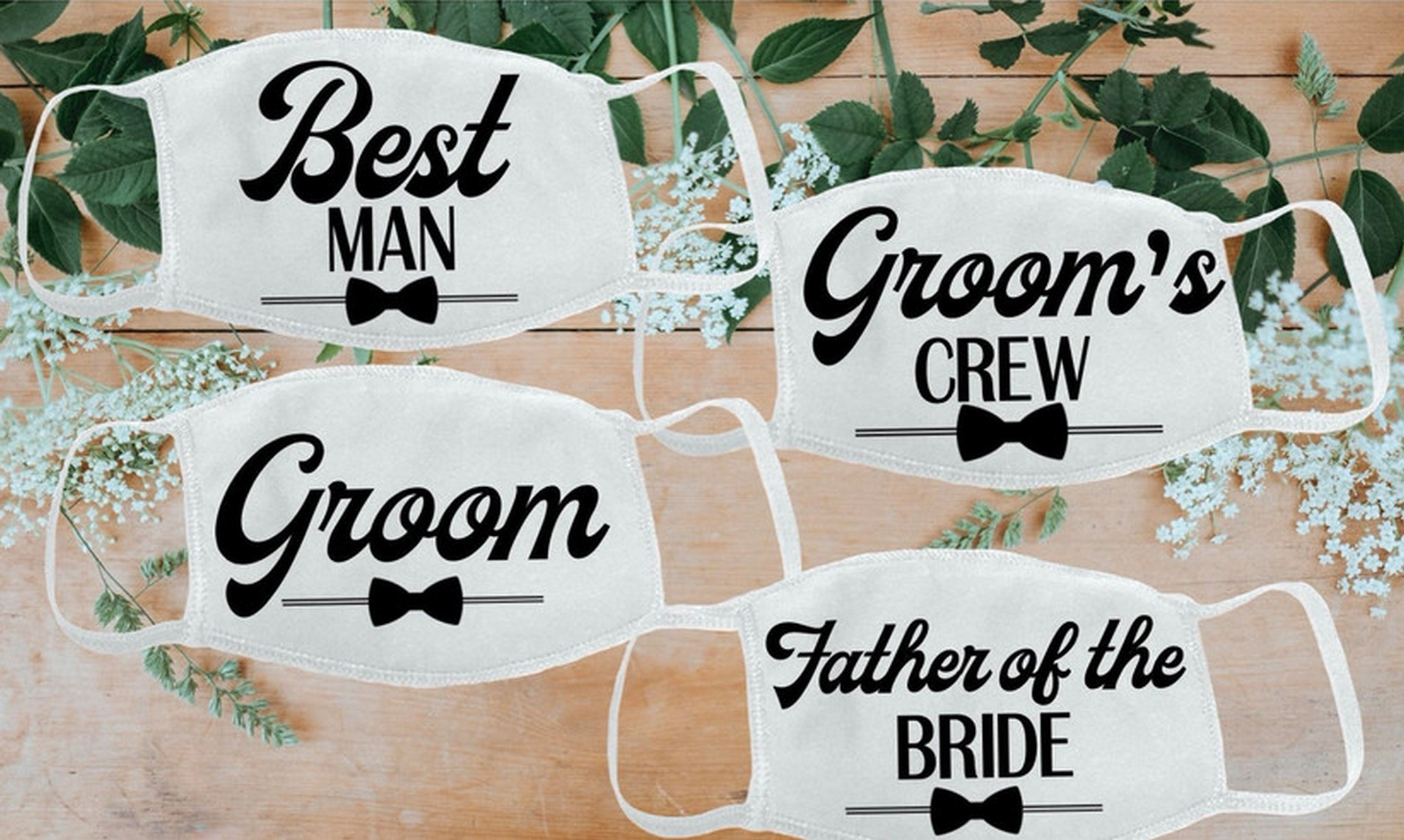 """Groom's crew"" face masks"