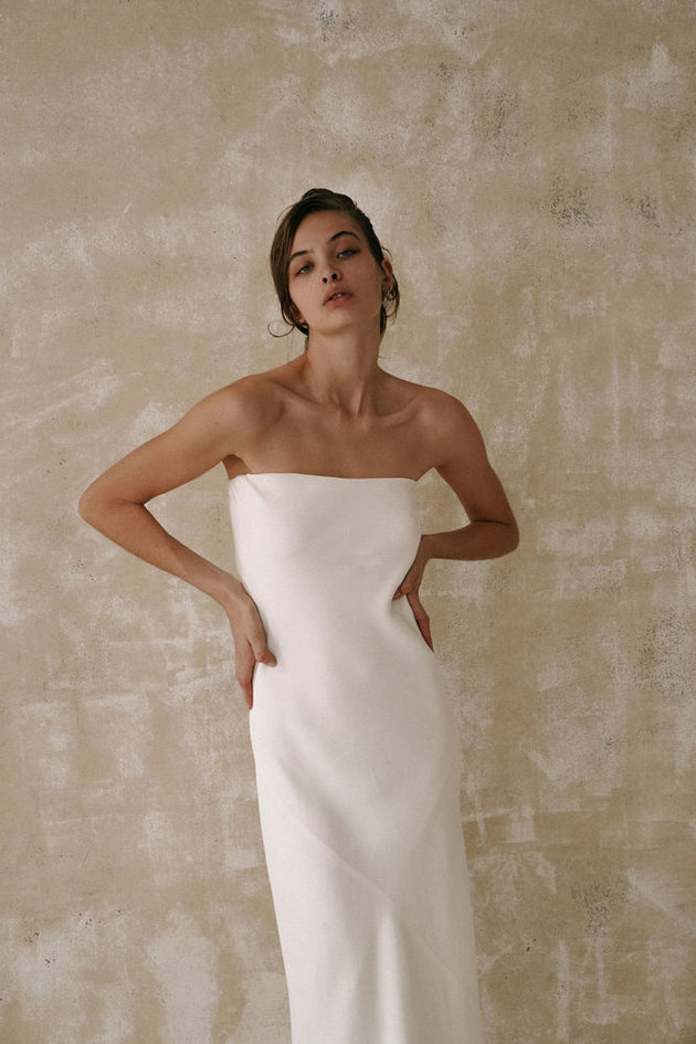 Simple strapless gown
