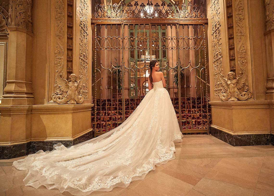 dramatic wedding guide with train