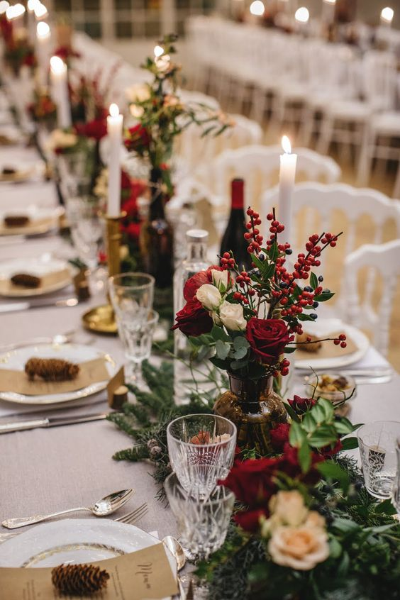 colorful winter wedding flowers