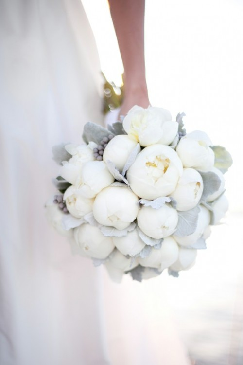 all white bouquets winter wedding