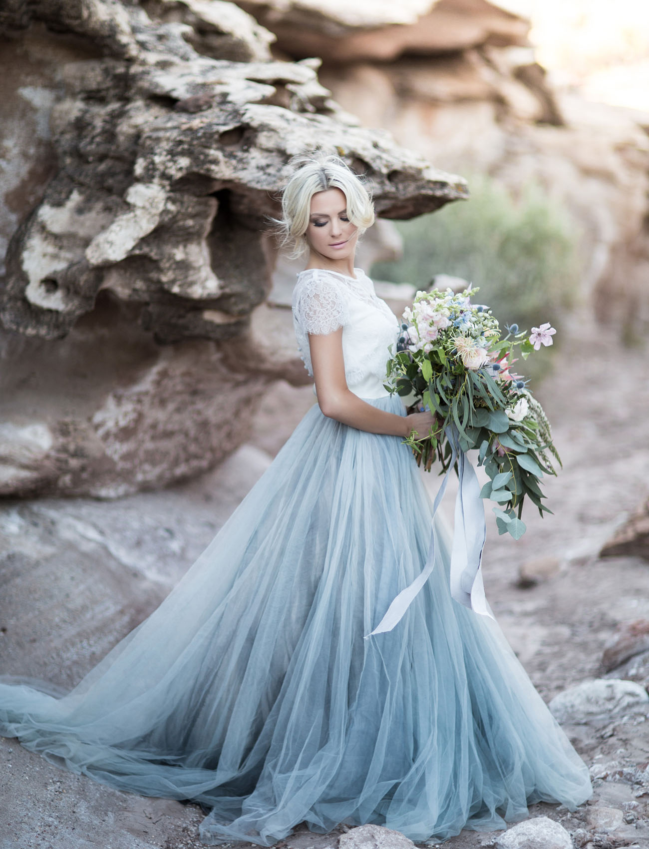 Smokey blue tulle gown